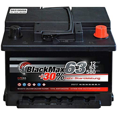 Autobatterie 12V 63Ah 580A BlackMax Starterbatterie ersetzt 55Ah 56Ah 60Ah 62Ah