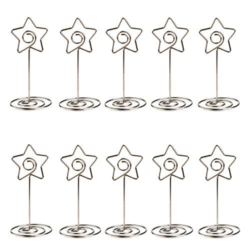 fenical 10pcs photo holder card paper note clip wedding place name card holders pentagon shape party favors silver