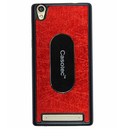 Casotec Metal Back TPU Back Case Cover for Intex Aqua Power Plus - Red  available at amazon for Rs.175
