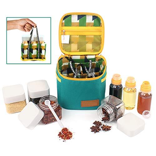 Naduew Tragbare Outdoor-Gewürzflasche Set Gewürztopf Flaschenbox Grillzubehör für Campingcontainer mit Aufbewahrungstasche
