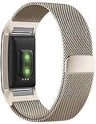 Fitbit Charge 2 Armband,Milanese Schlaufe Edelstahl Armband Smart Watch Armbänder Replacement Handgelenk Band Wrist Strap Watchband Fitness Armband mit einzigartiger Magnetverriegelung für Fitbit Charge 2/ Fitbit HR Ersatzarmbänder,Größe