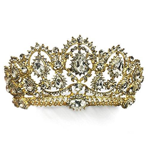 Pnizun Baroque RšŠtro Vintage Cristal AB MarišŠe Accessoires Cheveux Brides Mariage Bijoux de Cheveux Strass Pageant Robe Studio Tiara Couronne [Or]