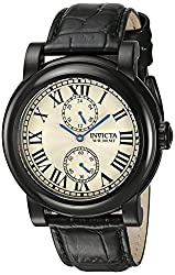 Invicta Mens I-Force Black Leather Band Steel Case Quartz Silver-Tone Dial Analog Watch 22257