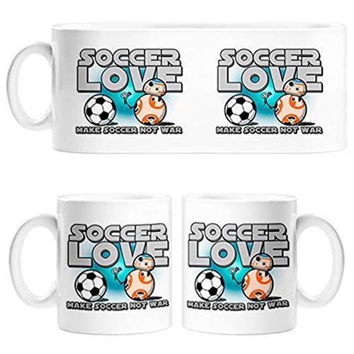 Taza Soccer Love Make Soccer Not War para futbolero enamorado amor - Cerámica