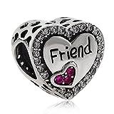 Abalorio de corazón de amistad con corazón cristal, plata de ley 925, para pulsera europea