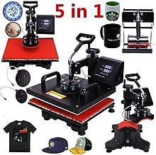 Iglobalbuy Pro 5 en 1 Placa taza del casquillo de la camiseta de múltiples funciones de la prensa del calor de sublimación digital máquina de transferencia combinada de la camiseta + taza + gorra + Placa 15