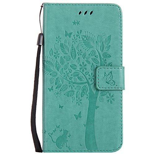 Chreey Motorola Moto G6 Plus Hülle, Prägung [Katze Baum] Muster PU Leder Hülle Flip Case Wallet Cover mit Kartenschlitz Handyhülle Etui Schutztasche [Grün]