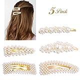 5 Stück Perlen-Haarspangen, Moker, künstliche Perlen, Haarnadeln für Braut, Haarspangen, handgefertigt, Alligator-Haarnadeln für Frauen, Mädchen, Hochzeit, Braut-Accessoires, Valentinstag-Geschenk