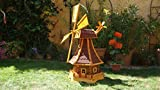 XL,Massivholz-Windmühle, wetterfest,robust mit Bitumen, MIT WINDFAHNE Windrad-Seitenruder, Windmühlen Garten, imprägniert + kugelgelagert 1 m groß rot dunkelrot edelrot weinrot