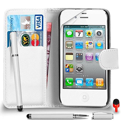 Apple iPhone 4 / 4S Pack 1, 2, 3, 5, 10 Protecteur d'écran & Chiffon SVL6 PAR SHUKAN®, (PACK 10) Portefeuille BLANC