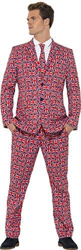 Union Suit Halloween Kostüm (Smiffys, Herren Union Jack Anzug Kostüm, Jackett, Hose und Krawatte, Größe: L,)