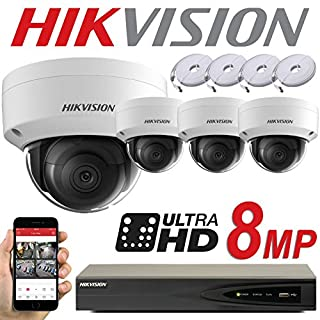HIKVISION 8MP SYSTEM 4CH CHANNEL NVR IP POE 8 MP MEGAPIXEL CCTV 2.8MM DOME CAMERA DIGITAL NETWORK KIT TRADE INDOOR OUTDOOR NIGHT VISION TRADE UK DS-7604NI-K1/4P DS-2CD2185FWD-I (2TB SURVEILLANCE HDD)