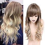 HAIRCUBE Perruque longue cheveux bouclés avec Bangs Ombre Brown à Perruque Blonde...
