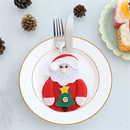 6 Stücke Weihnachten Besteckhalter Weihnachtsmann Schneemann Hirsch Dekoration Schneemann Besteck Anzug Porckets Messer Leute Tasche Weihnachten Tischdekoration für Zuhause (Weihnachtsmann Anzüge)
