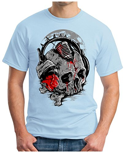 OM3 - DEEJAY-SKULL - T-Shirt GEEK, S - 5XL Himmelblau