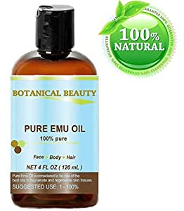 PURE EMU Oil, 100% Pure, 4 oz-120 ml. For Face, Hair, Body and Nails. Great for Dermatitis, Psoriasis, Eczema, Brittle Nails, Dry Hair & Scalp, Burns, Pain, Stretch Marks, Rosacea, Cuts, Scars, Anti- Aging and More! by Botanical Beauty
