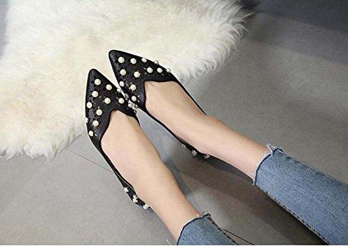 Glissière de pompe sur les ballerines femmes Pointe ornée perle creuse couleur pure chaussures plates eu taille 35-39 Black