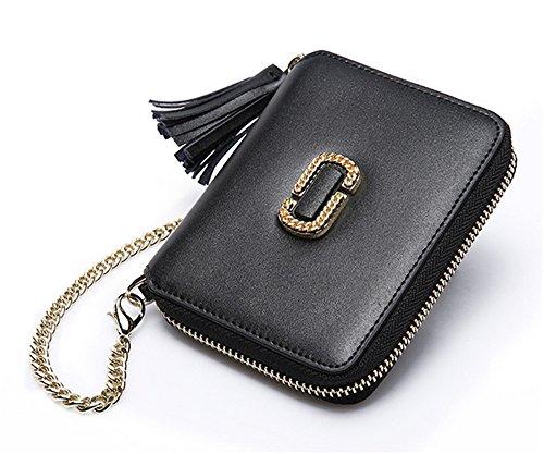 Xinmaoyuan Damen Geldbörsen Leder Tasche weiblichen Fleece Handtasche kurzer Abschnitt Zipper Retro Kette Kuh Lederetui, Schwarz (Zipper Vertikale Wallet)