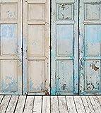 PINTURA al óleo de estilo antiguo vintage de madera puerta suelo de madera de fondo para estudio de fotografía telón de fondo para estudio fotográfico, fondo retro Kids cabina Shoot Prop 5x 7ft