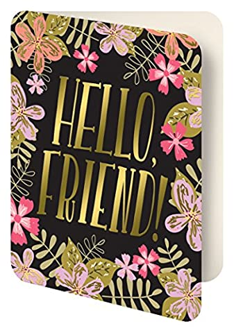 Studio Oh! Foil Stamped Artisan Notecards, Midnight Garden Hello Friend!