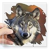 CafePress–Wolf quadratisch Aufkleber 7,6x 7,6cm–quadratisch Bumper Aufkleber Auto Aufkleber, 7,6x 7,6cm (klein) oder 12,7x 12,7cm (groß), farblos, Large - 5x5