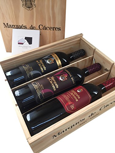 Caja de madera 3 botellas - Marqués de Caceres - Crianza / Reserva / Gran Reserva - Vino tinto