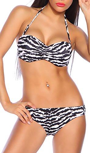 Sexy Neckholder Bandeau Push Up Bikini im Zebra Print (M 36) (Print-zebra-bikini)