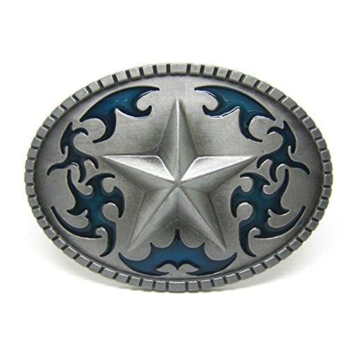 FYX Hebilla de cinturón de Forma Estrella Tatuaje para Hombre Azul Plateado Talla única