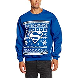 DC Comic Christmas Knit Superman-Sudadera Hombre, Azul (Royal Blue) L