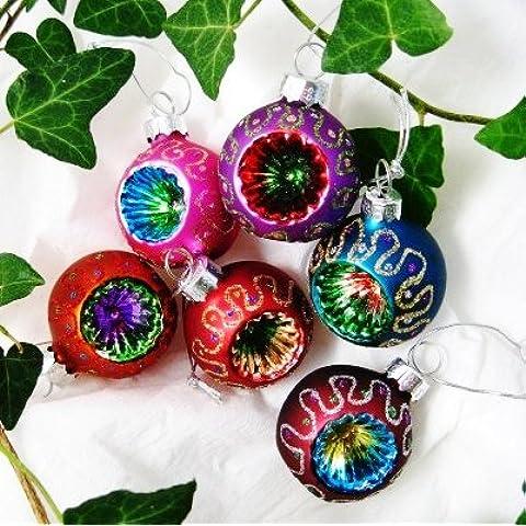Gisela Graham - Decorazioni natalizie per albero, in stile retrò con glitter, set da 6