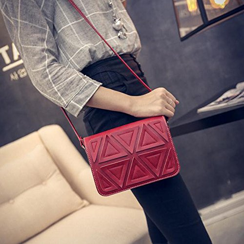 Contever® Damen Vintage Kunstleder Schultasche Umhängetasche Freizeit Taschen (Tiefes Braun) Rot