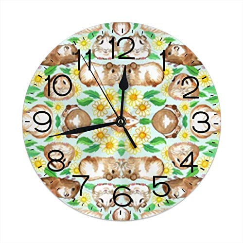 Uosliks Guinea Pigs and Daisies Wanduhr Silent Non Ticking, Round Easy to Read for Home Office School Clock -
