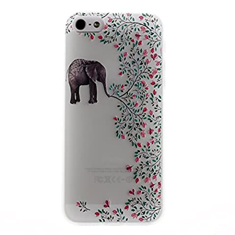 iphone SE Hülle, iphone 5 5S Soft Case , Cozy Hut iphone SE/5/5S Backcover Silikon Schutzhülle im Elefant Blumen Design Hülle aus TPU transparent Muster kratzfest - Crystal Clear Ultra Dünn Durchsichtige Backcover Soft TPU Case für iphone SE 5 5S 4.0 Zoll - Elefant