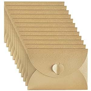 50 Pièces Mini Enveloppes de Papier Kraft avec Fermoir en Papier Coeur pour les Cartes-Cadeaux de Noël Saint-Valentin, Kaki