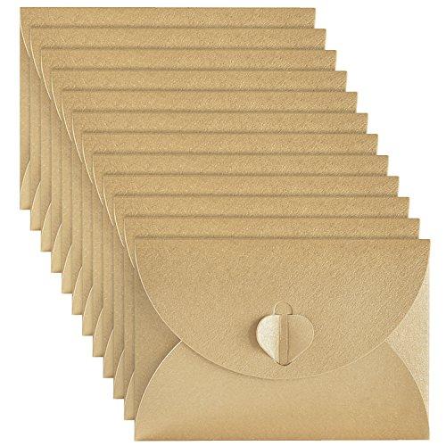50 Stücke Mini Papier Umschläge Kraftpapier mit Herz Papier Verschluss für Weihnachten Valentinstag Geschenkkarten, - überprüfen Briefmarken