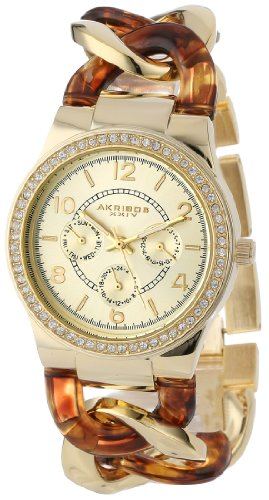 Akribos XXIV Women's AK562YG Quartz Multi-Function Crystal Accented Resin Chain Watch