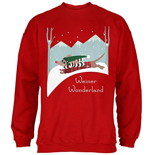 Christmas Dackel Weiner Winter Wonderland Mens Sweatshirt Red SM (Dackel Weiner)