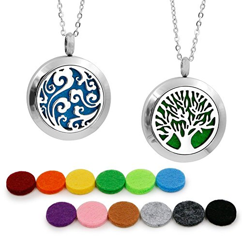 2pcs-aromatherapy-essential-oil-diffuser-pendant-necklace-hypoallegenic-stainless-steel-locket-with-
