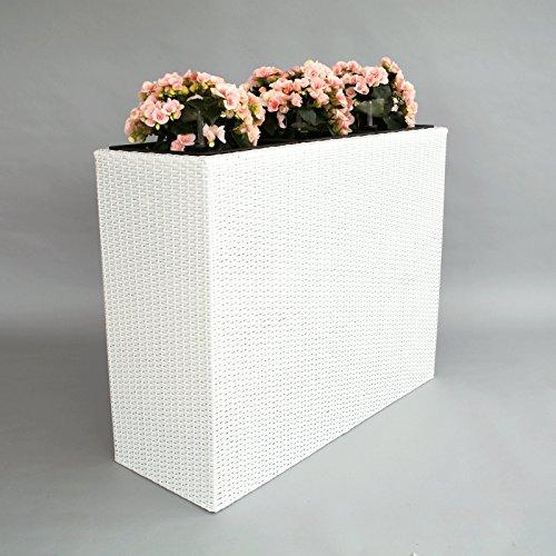XXXL Pflanztrog Blumentrog Trennelement Polyrattan als Raumteiler LxBxH 106x40x84cm weiß
