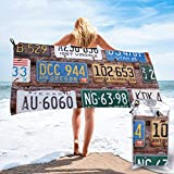 YUYUTE Badetuch, Old License Plates Microfiber Towel for Men Women Quick Dry Absorbent for Beach Travel Hiking...
