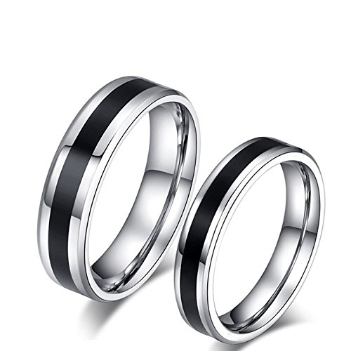 Beydodo anelli san valentino lui e lei anello bicolore anelli acciaio inossidabile coppia donna misura 15 & uomo misura 25