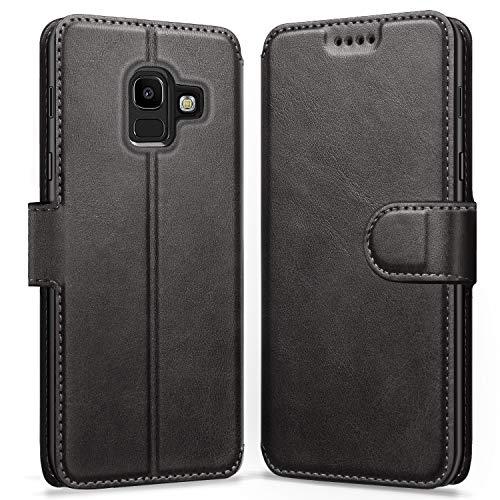 ykooe Galaxy J6 2018 Hülle, Flip Wallet Handy Schutzhülle Leder Handyhülle für Samsung Galaxy J6 (2018) Tasche – Schwarz