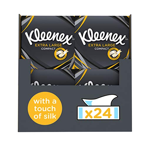 Kleenex Extra Large Mansize Facial Tissues, Pack of 24 Compact Tissue Boxes (1056 Tissues Total)