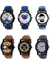 NEUTRON Modish 3D Design Love Beard Style Black Blue And Brown Color 6 Watch Combo (B10-B11-B12-B13-B14-B40) For...