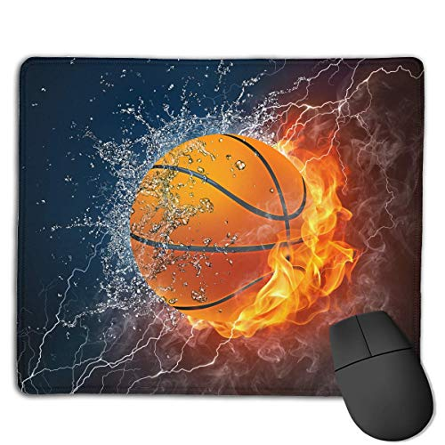 ASKSSD Mouse Pad Cool Basketball with Water Fire Rectangle Rubber Mousepad 8.66 X 7.09 Inch Gaming Mouse Pad with Black Lock Edge (Billig In Basketbälle Bulk)