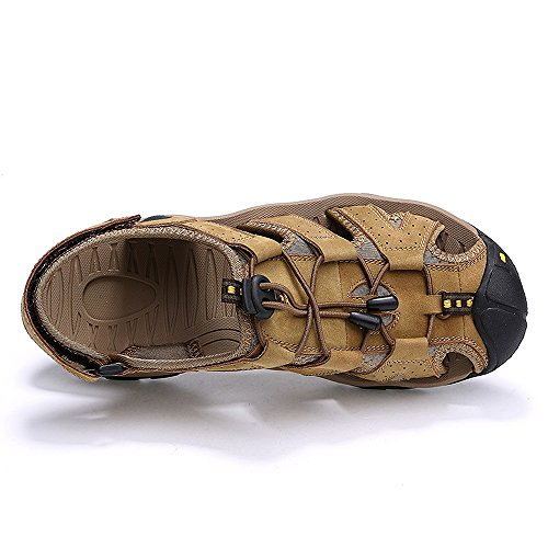 VILOCY Herren Sommer Leder Klett Sandalen Athletic Walking Beach Outdoor Schuhe Khaki