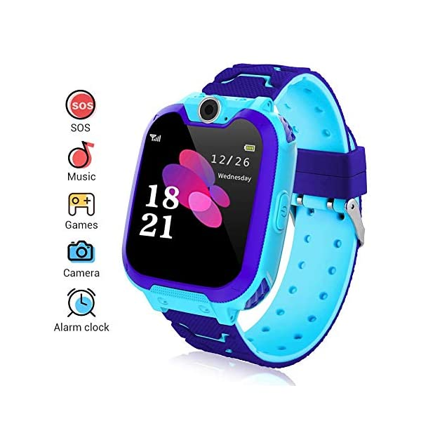 Smartwatch para niños, Smart Watch Phone con Reproductor de música, SOS, 1,44 Pulgadas, Pantalla táctil LCD con cámara Digital, Juegos, Despertador para niños y niñas 1