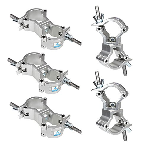 tsss-5-pack-dj-truss-swivel-clamps-and-turn-as-needed-two-360-degree-stage-light-mount-hookfit-tubin