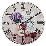 QIAOB Vintage Madera Creativo Reloj de Cuarzo montado en la Pared Simple Creativo Reloj de Pared-Sala de Estar/Dormitorio y Cocina,B