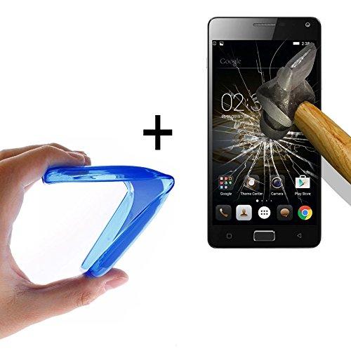WoowCase - Flexible Gel Schutzhülle für [ Lenovo Vibe P1m] [ +1 Schutzglas ] Hartglas, Hülle Case TPU Silikon in Blau